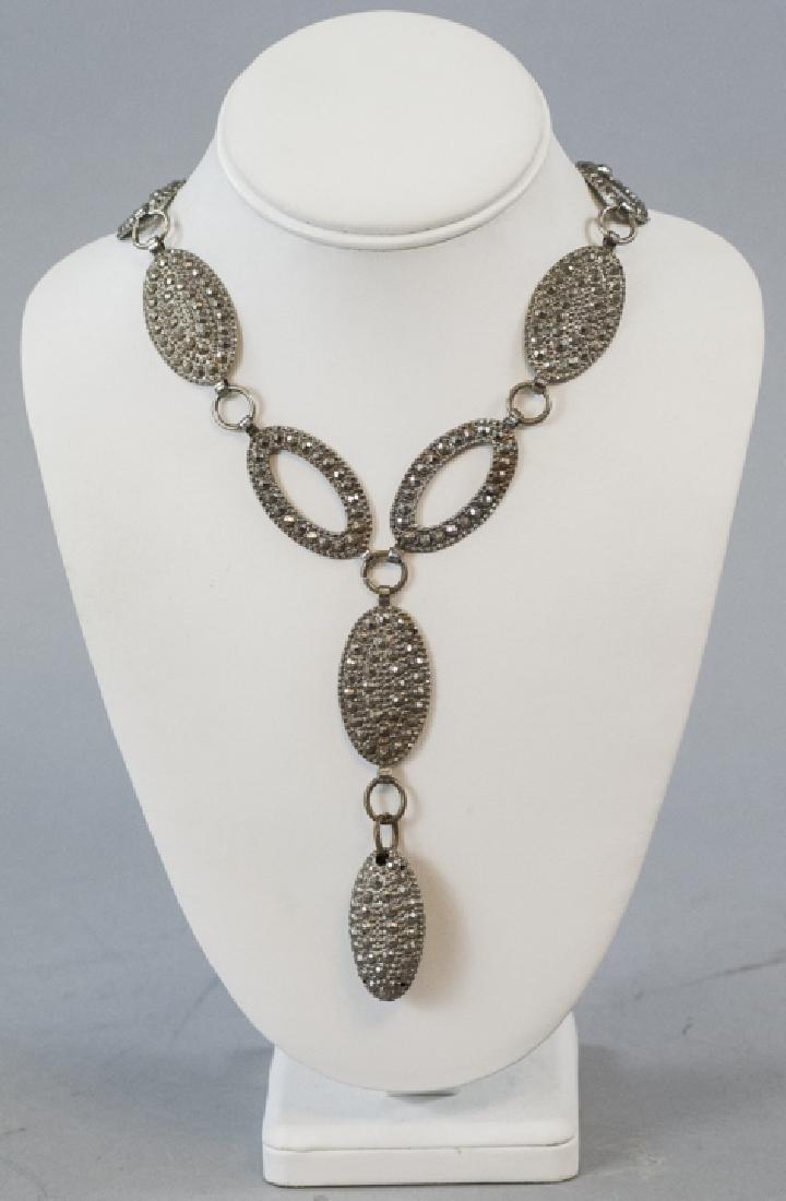 Antique Pressed Steel Costume Jewelry Necklace - 2