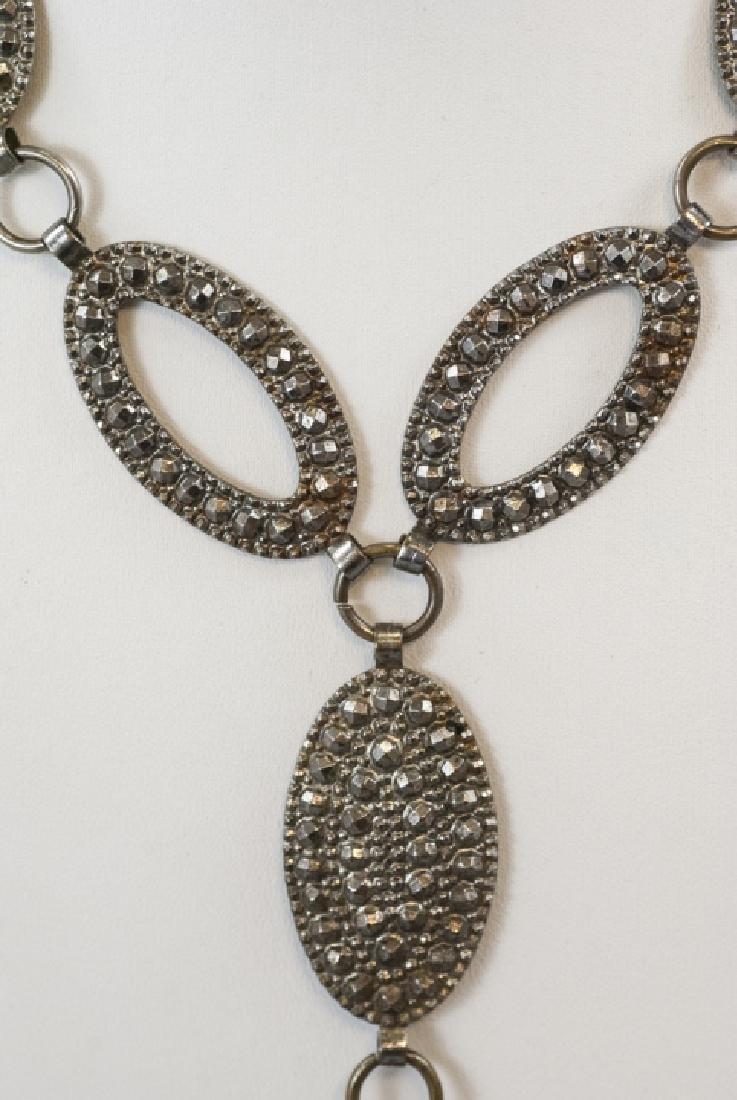 Antique Pressed Steel Costume Jewelry Necklace - 4