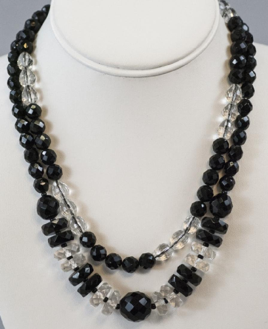 Two Antique Necklaces - Jet Glass & Rock Crystal