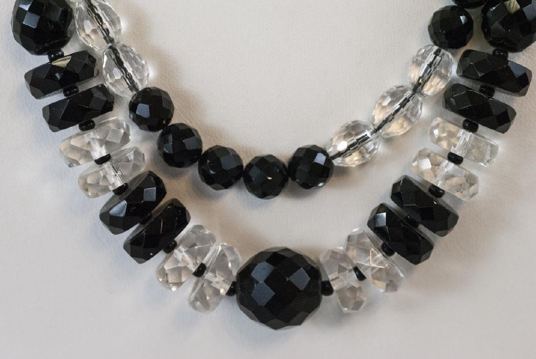 Two Antique Necklaces - Jet Glass & Rock Crystal - 4