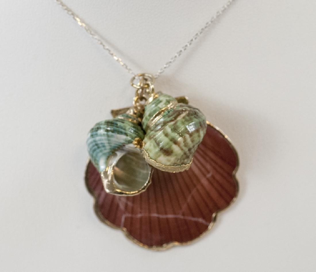 Three Vintage Seashell Pendants on Sterling Chain
