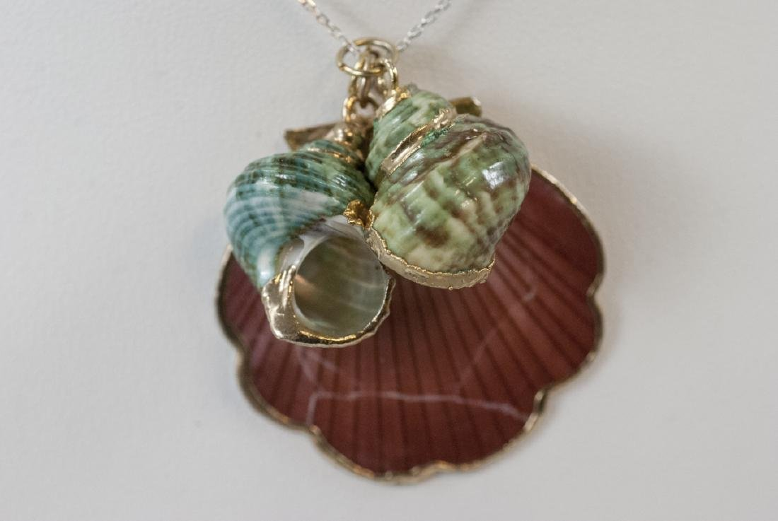 Three Vintage Seashell Pendants on Sterling Chain - 2