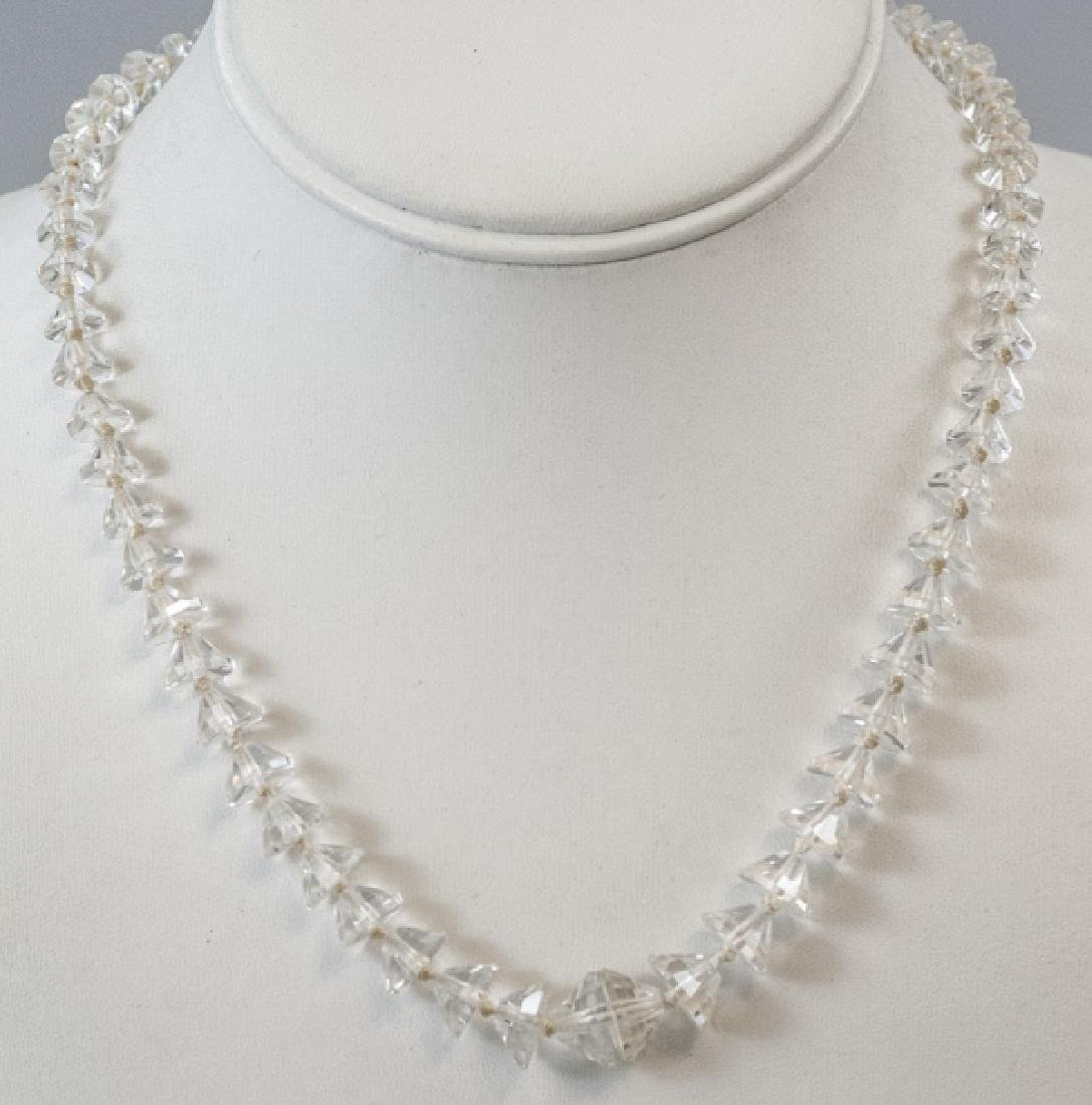 Antique Faceted Rock Crystal Necklace Strand