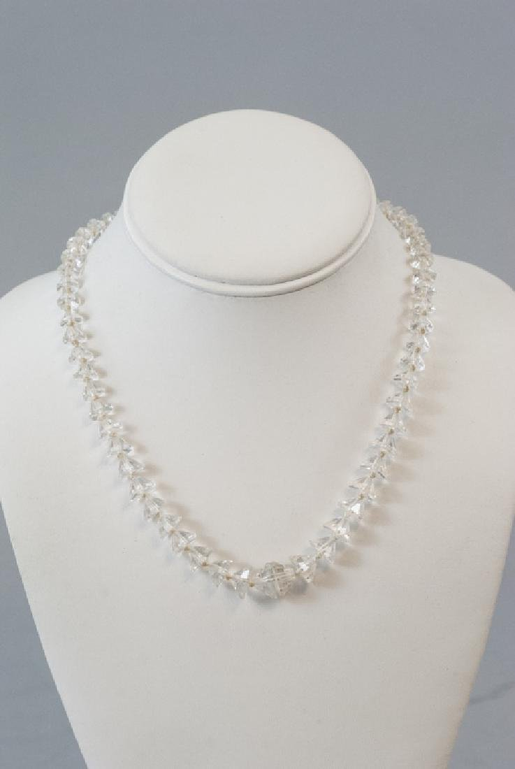 Antique Faceted Rock Crystal Necklace Strand - 6