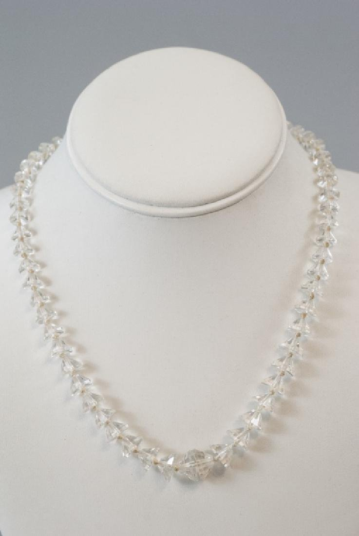 Antique Faceted Rock Crystal Necklace Strand - 7