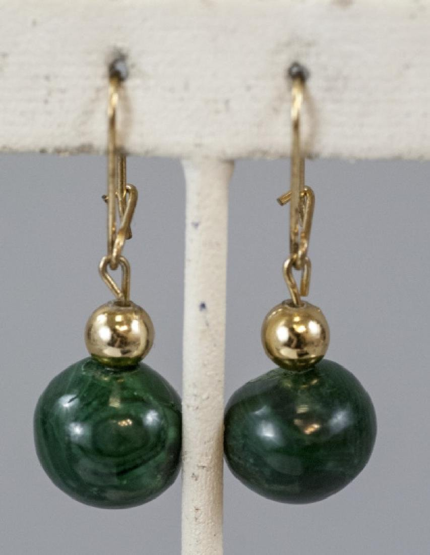 Pair of Carved Malachite Bead Earrings