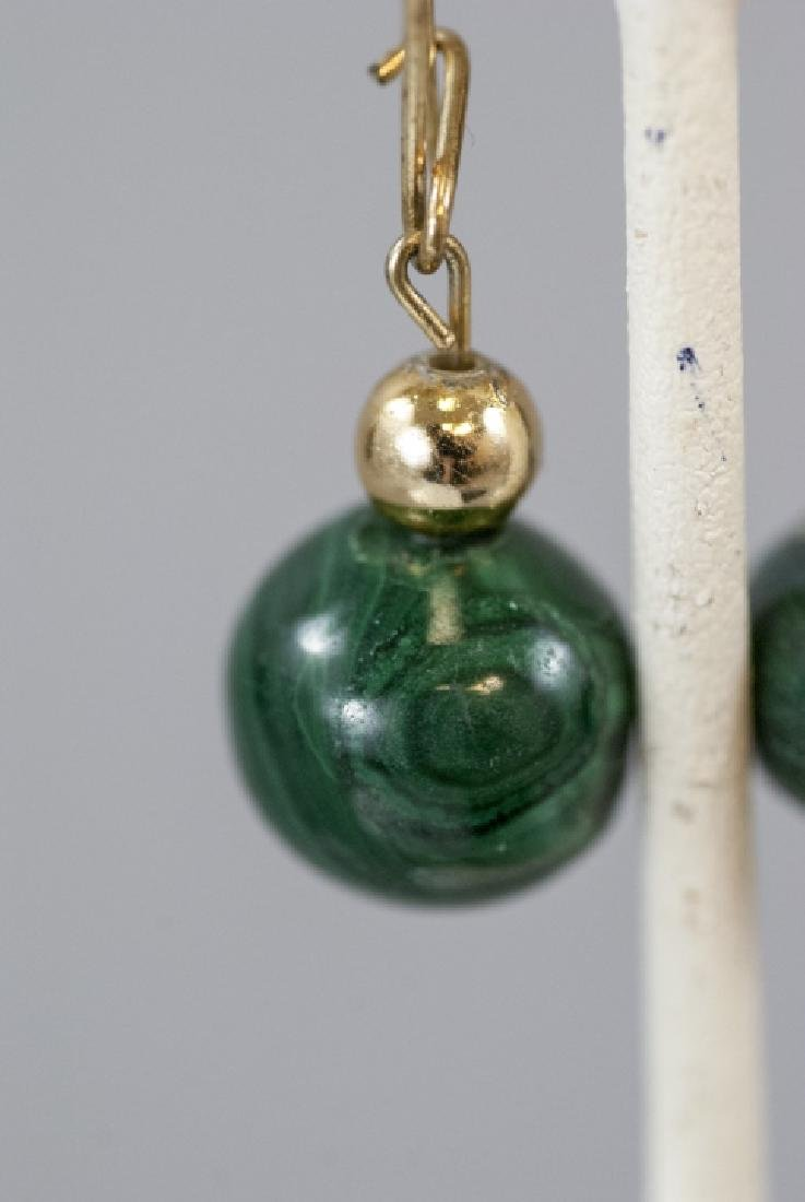 Pair of Carved Malachite Bead Earrings - 2