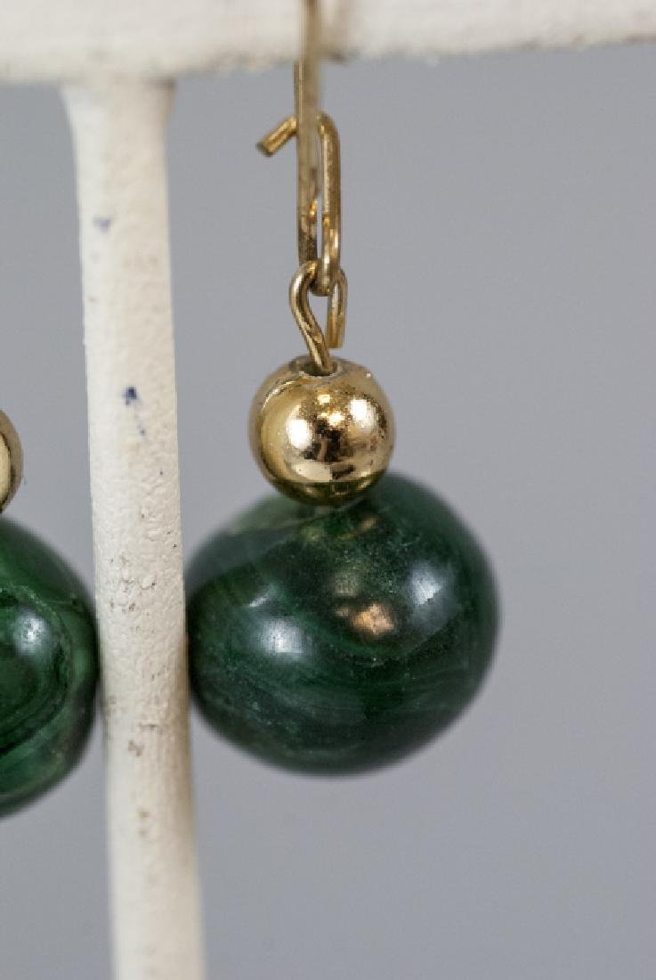 Pair of Carved Malachite Bead Earrings - 3