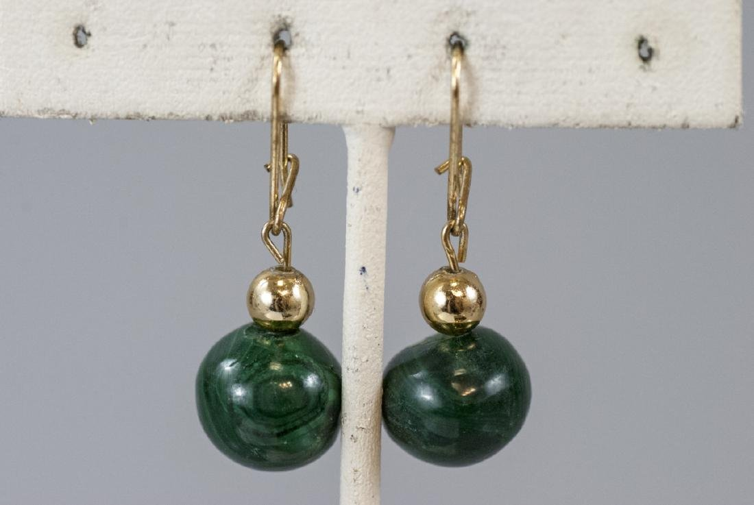 Pair of Carved Malachite Bead Earrings - 4
