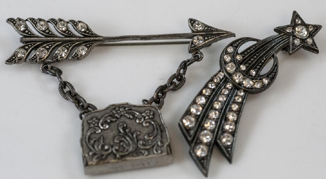 Star Burst Motif & Arrow w Locket Brooch / Pins