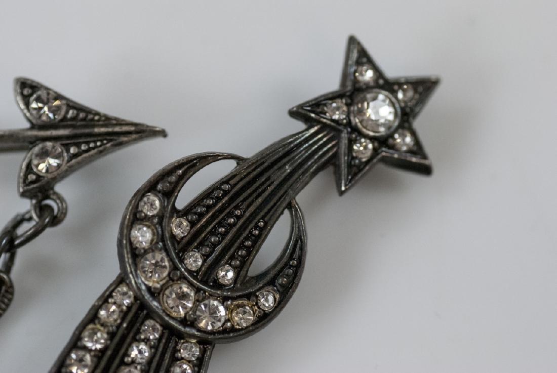 Star Burst Motif & Arrow w Locket Brooch / Pins - 6