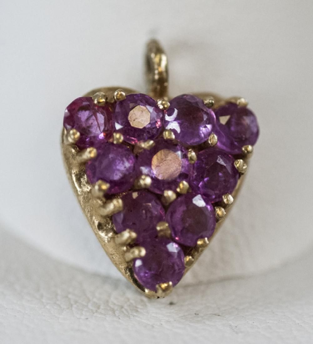 Estate 14kt Yellow Gold & Ruby Heart Pendant