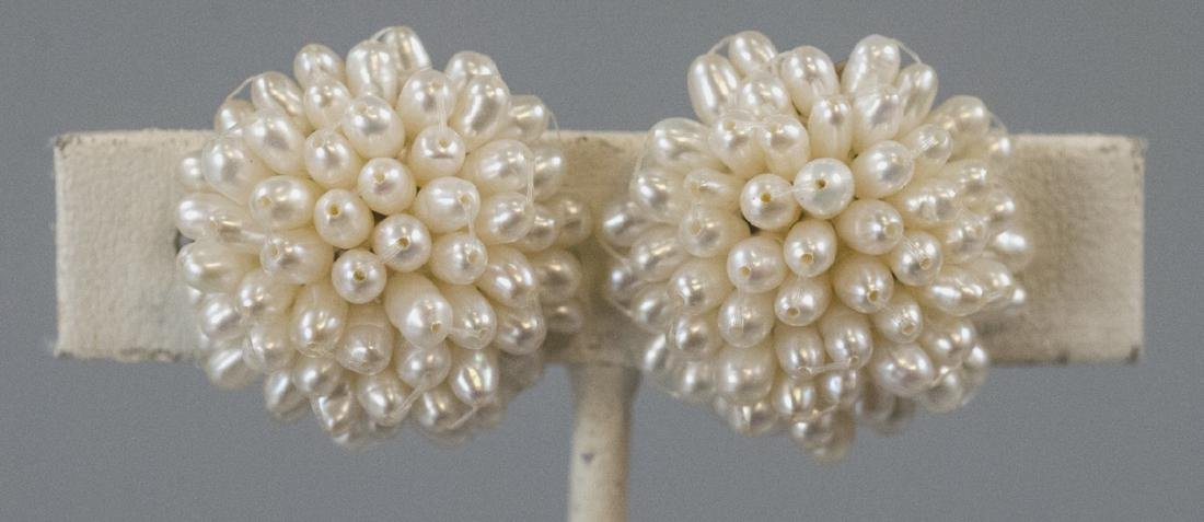 Pair Baroque Seed Pearl Cluster Clip On Earrings