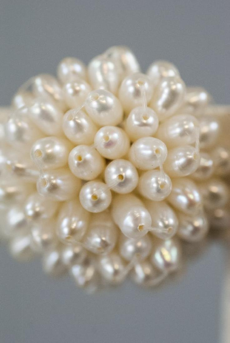 Pair Baroque Seed Pearl Cluster Clip On Earrings - 5