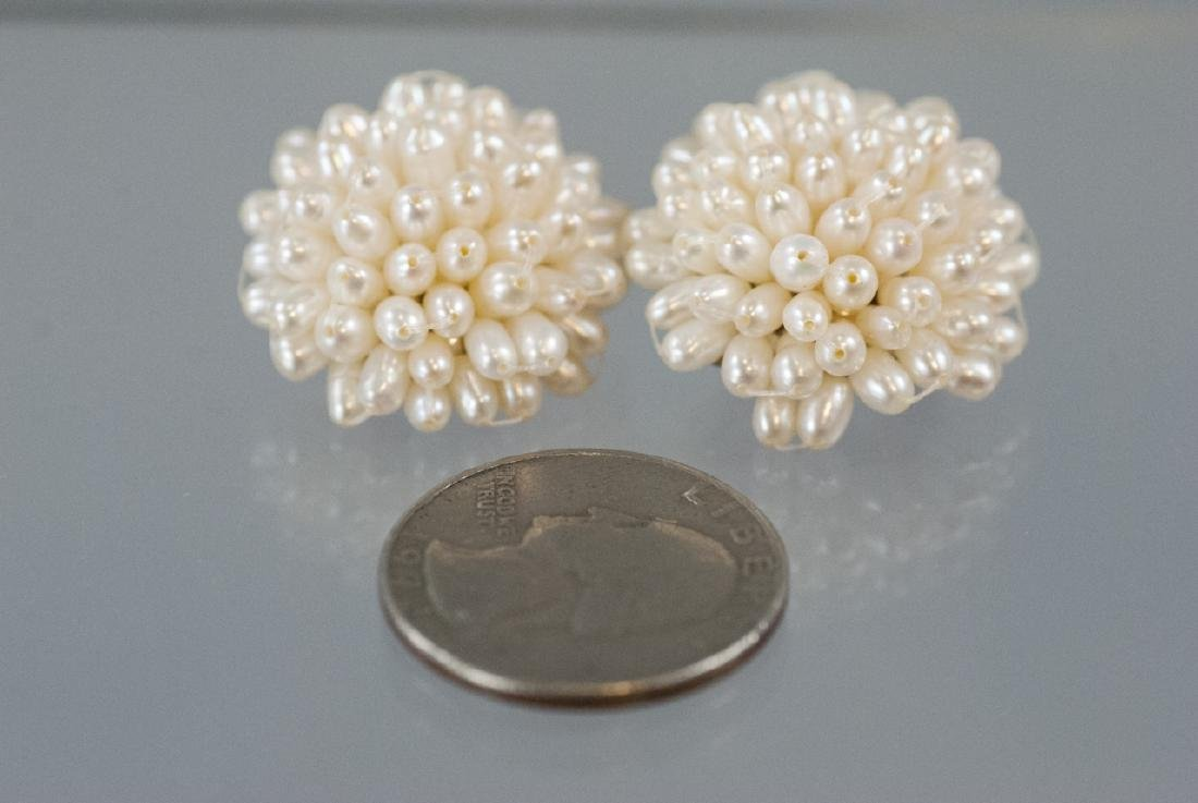 Pair Baroque Seed Pearl Cluster Clip On Earrings - 6