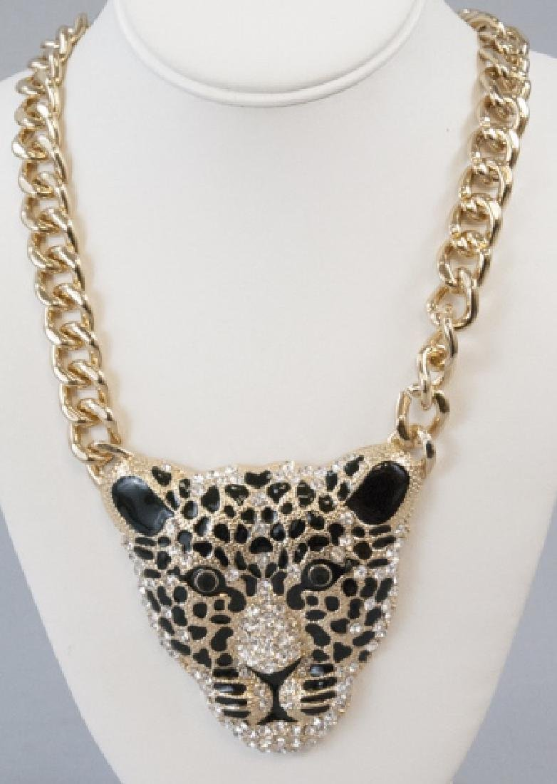 Enamel & Rhinestone Panther Statement Necklace
