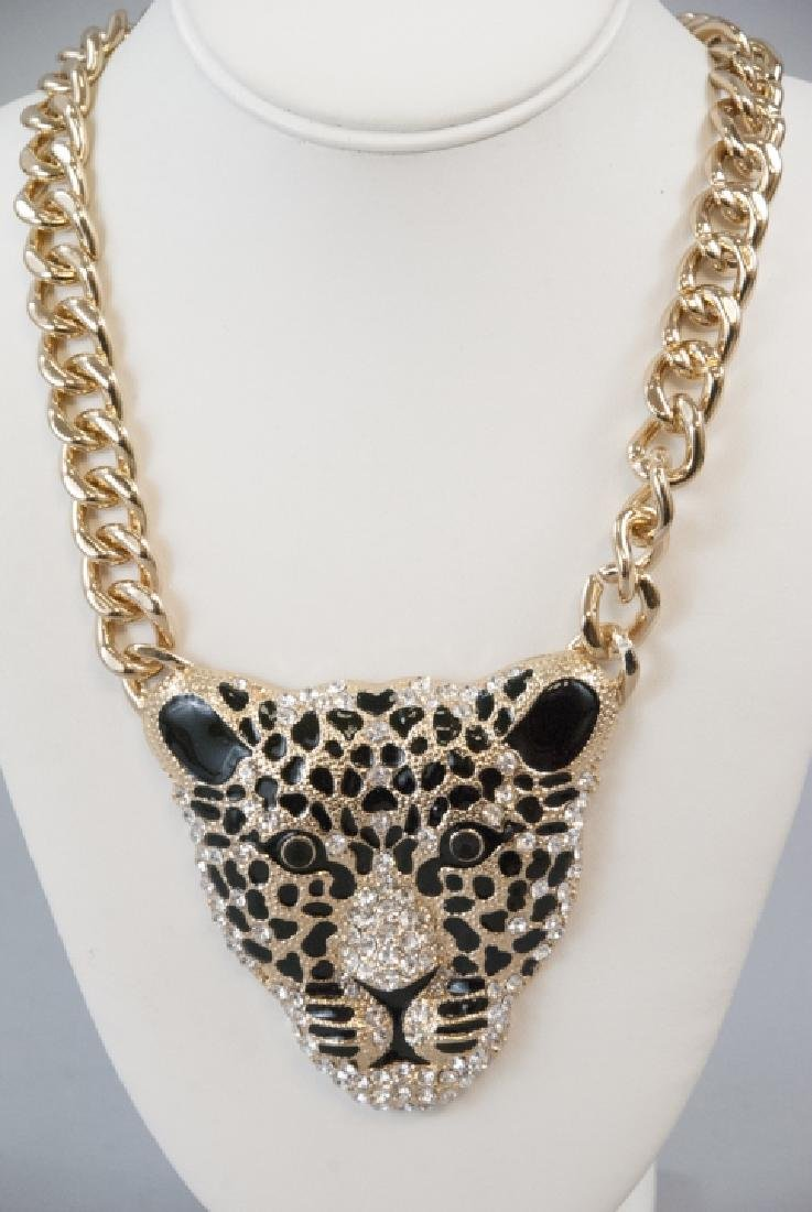 Enamel & Rhinestone Panther Statement Necklace - 2