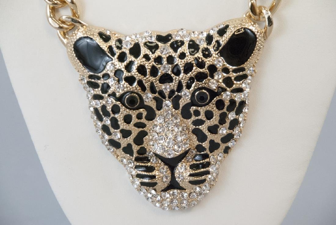 Enamel & Rhinestone Panther Statement Necklace - 3