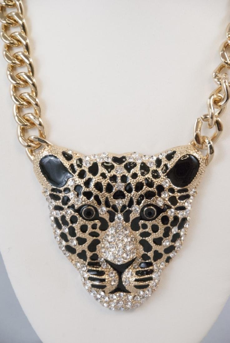 Enamel & Rhinestone Panther Statement Necklace - 4
