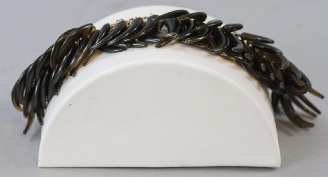 Vintage Gilt Metal & Faux Tortoise Shell Bracelet - 2