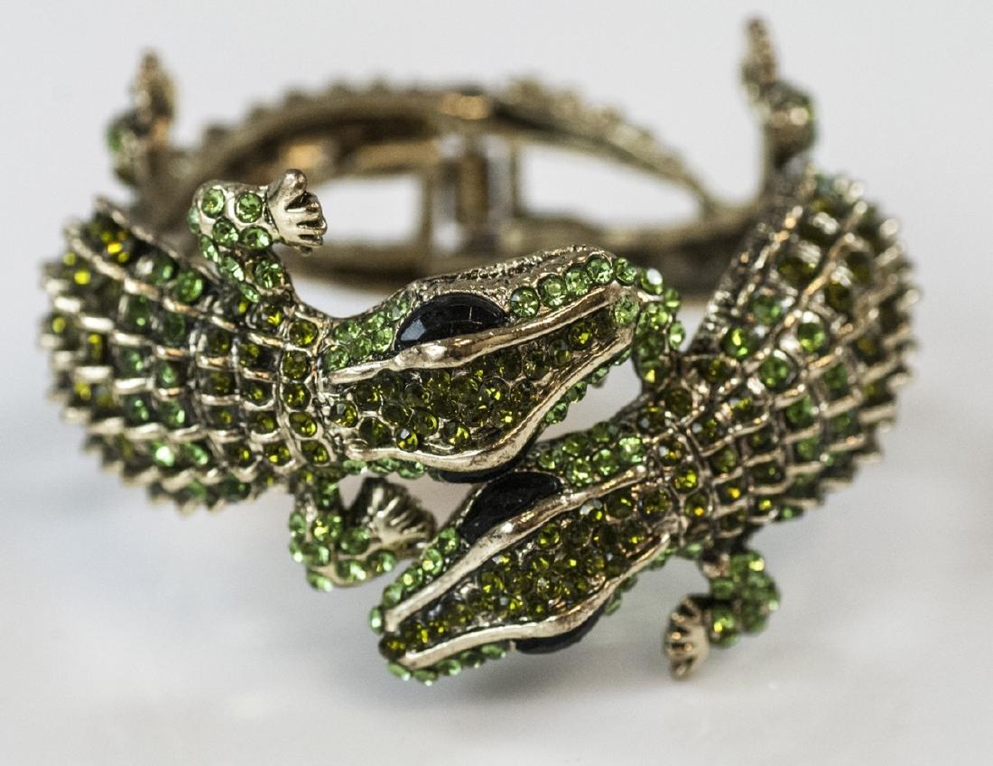 Gilt Metal & Rhinestone Double Alligator Bracelet