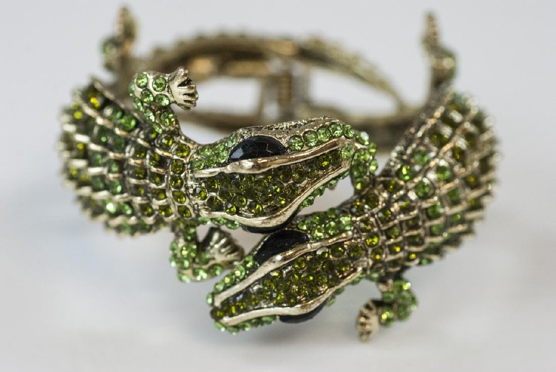 Gilt Metal & Rhinestone Double Alligator Bracelet - 2