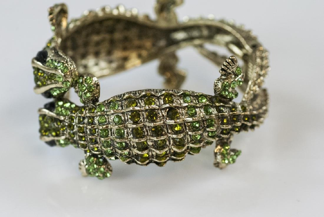 Gilt Metal & Rhinestone Double Alligator Bracelet - 3