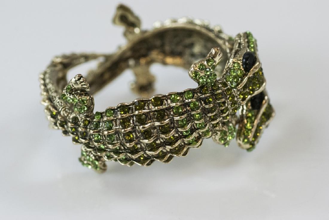 Gilt Metal & Rhinestone Double Alligator Bracelet - 4