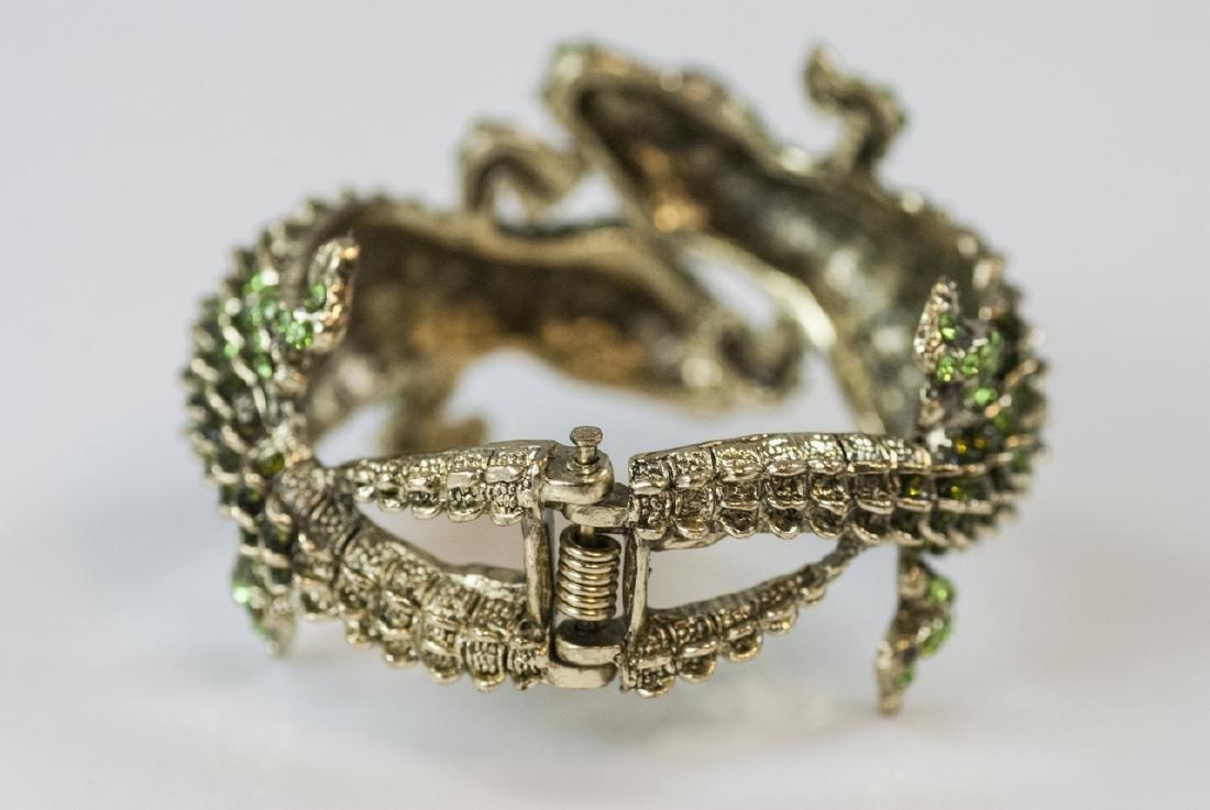 Gilt Metal & Rhinestone Double Alligator Bracelet - 5