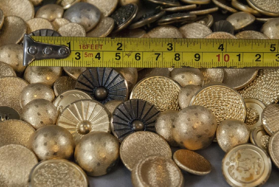 Collection Vintage Gold & Brass Tone Metal Buttons - 8