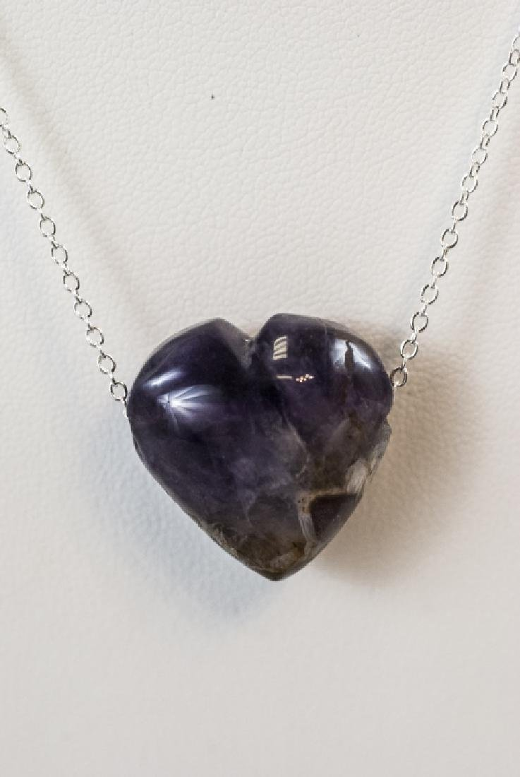 Carved Amethyst / Blue John Heart Necklace Pendant