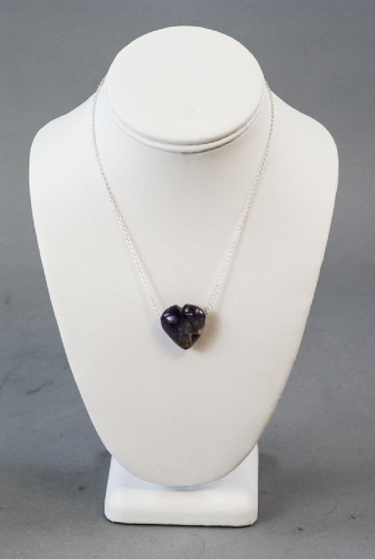 Carved Amethyst / Blue John Heart Necklace Pendant - 2