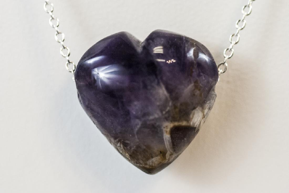 Carved Amethyst / Blue John Heart Necklace Pendant - 4