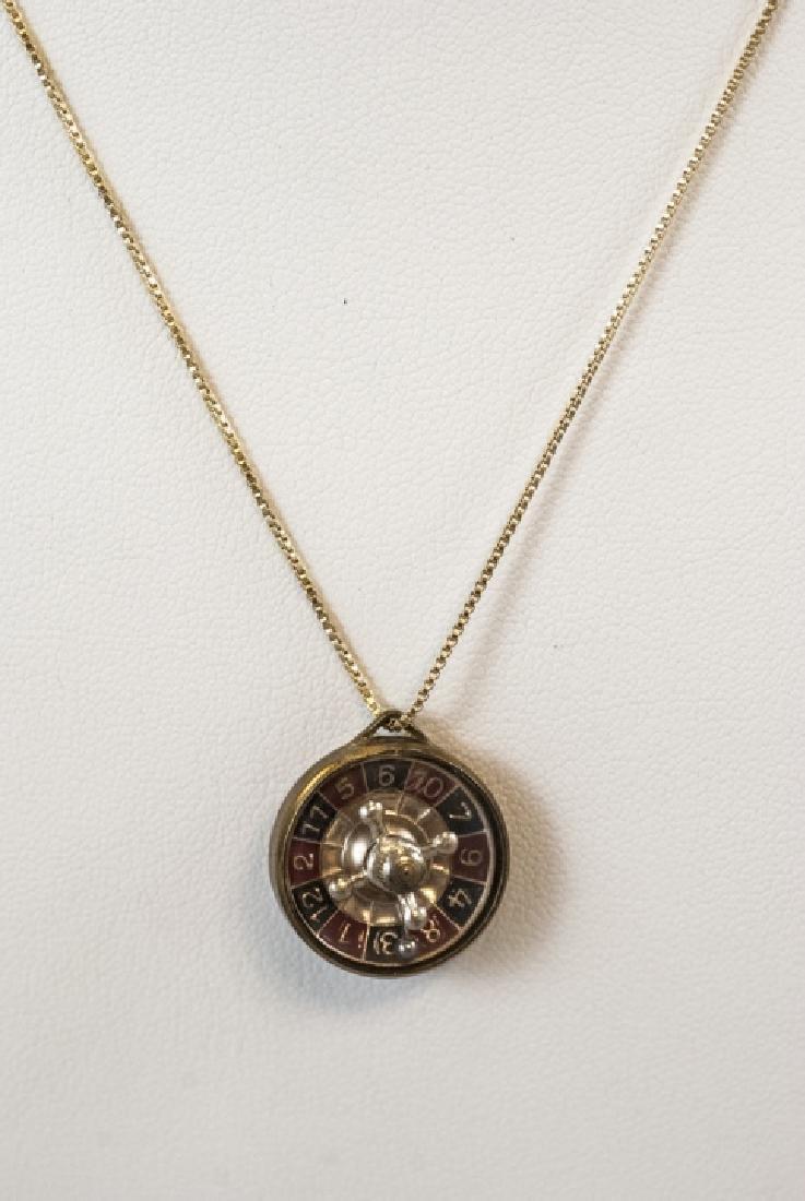 Austrian Roulette Wheel Vermeil Sterling Necklace
