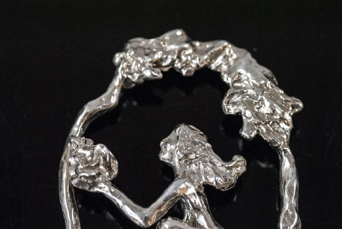 Artisan Handmade Sterling Silver Figural Necklace - 2