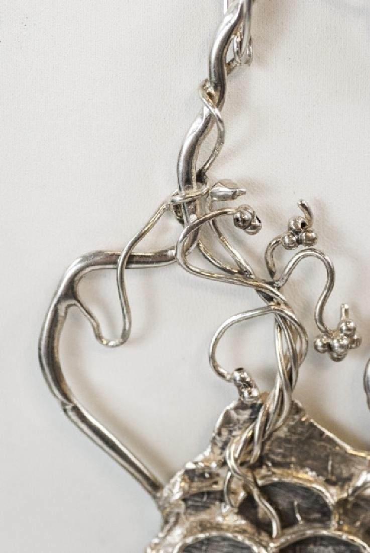 Artisan Handmade Sterling Silver Peacock Necklace - 2