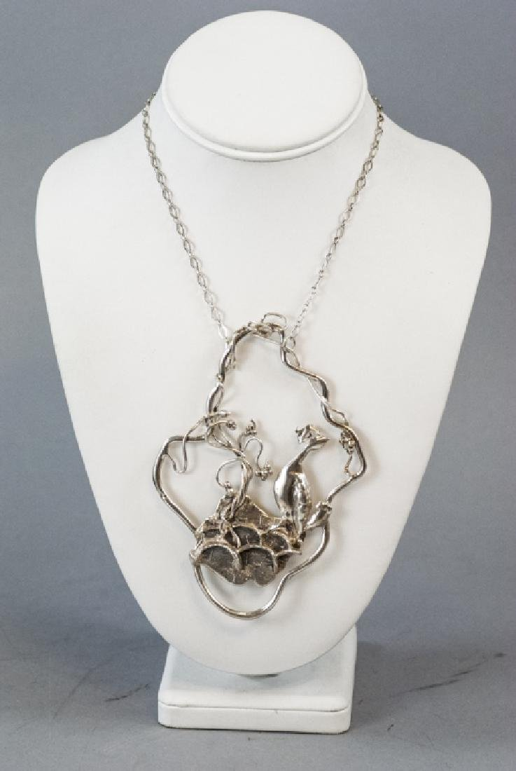 Artisan Handmade Sterling Silver Peacock Necklace - 5