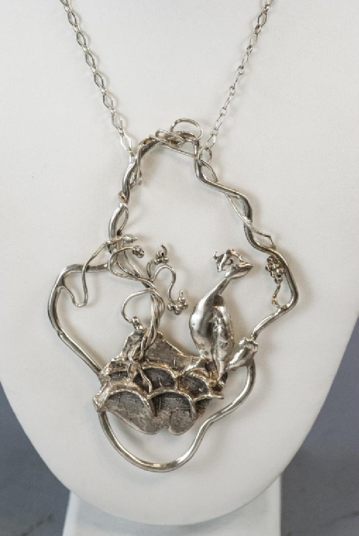 Artisan Handmade Sterling Silver Peacock Necklace - 6