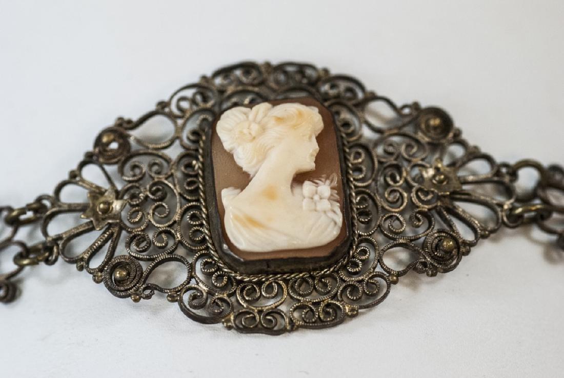Estate Filigree & Hand Carved Shell Cameo Bracelet