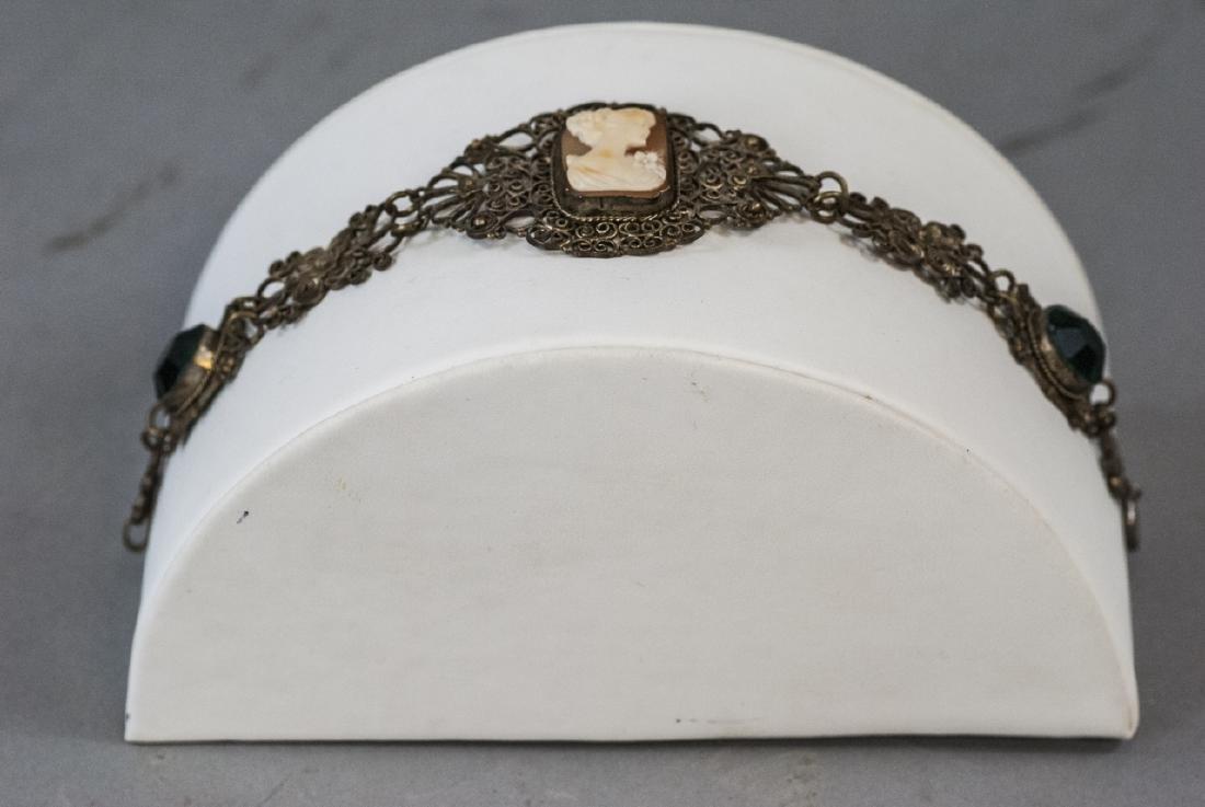 Estate Filigree & Hand Carved Shell Cameo Bracelet - 6