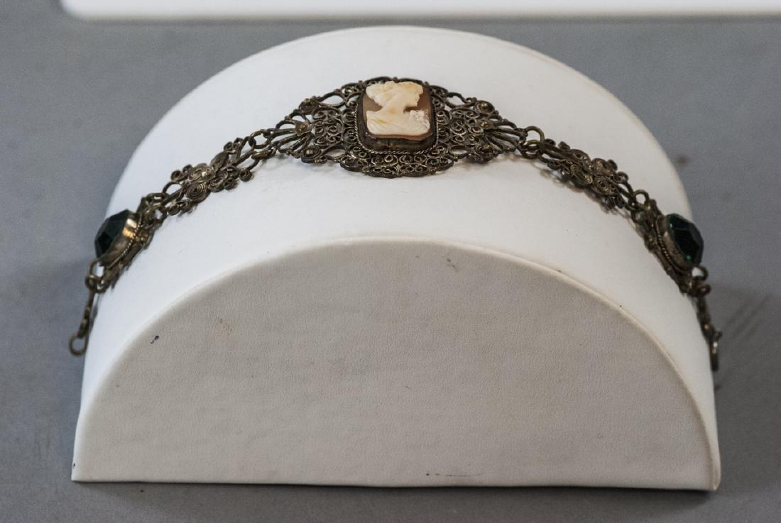 Estate Filigree & Hand Carved Shell Cameo Bracelet - 8