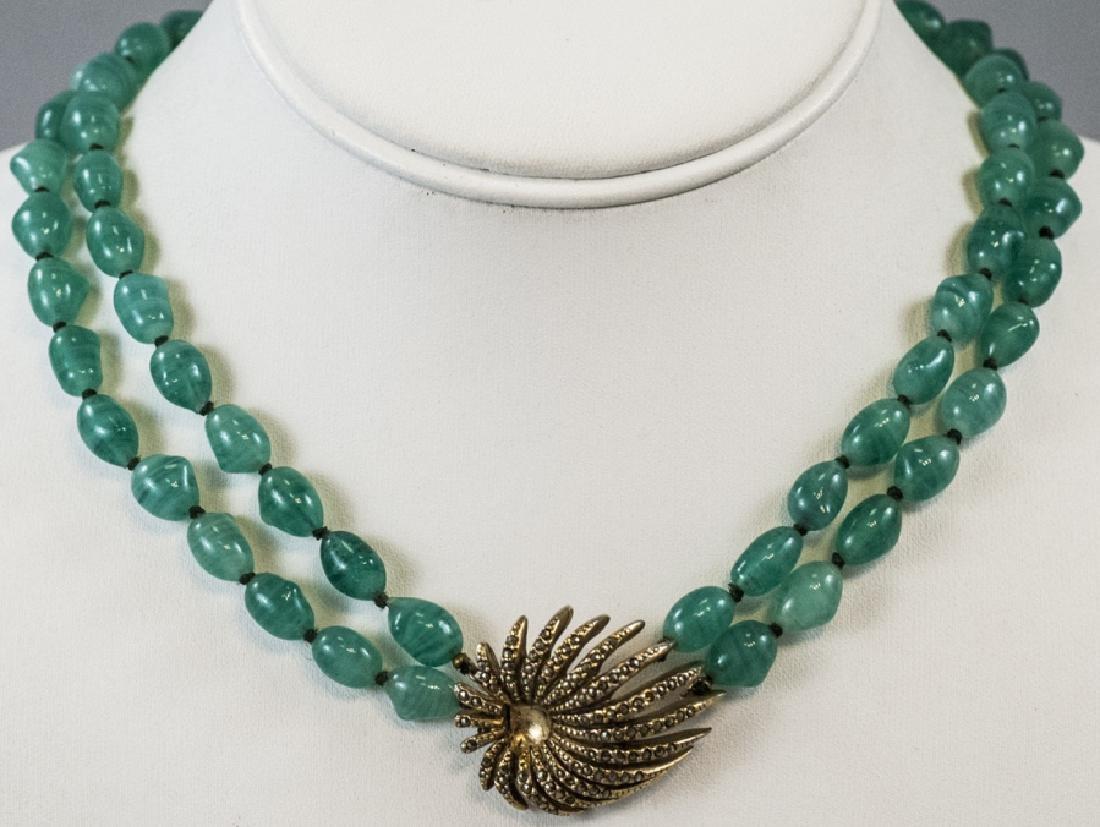 Vintage Les Bernard Gilt Metal & Glass Necklace