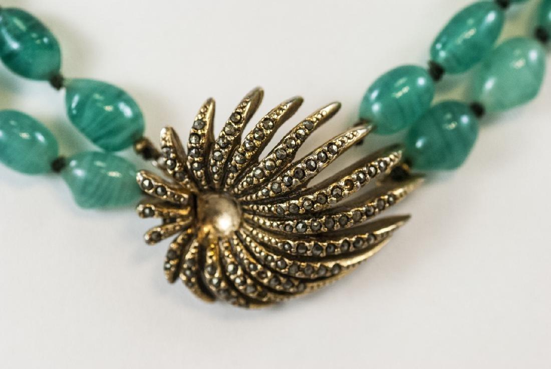 Vintage Les Bernard Gilt Metal & Glass Necklace - 2