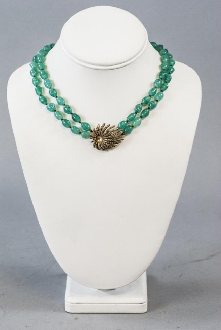 Vintage Les Bernard Gilt Metal & Glass Necklace - 5