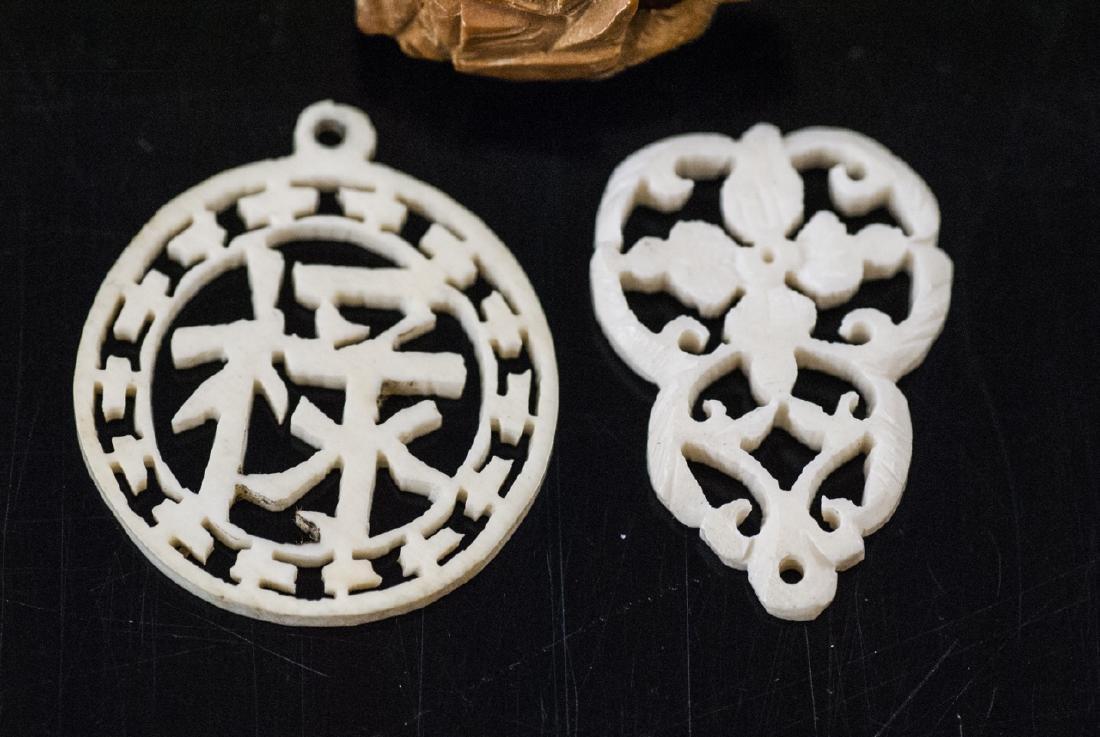 Three Antique Chinese Bone & Peach Pit Pendants - 3