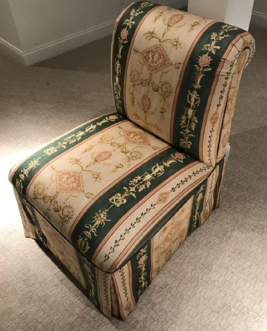 Custom Upholstered Slipper Chair w Neo Classical