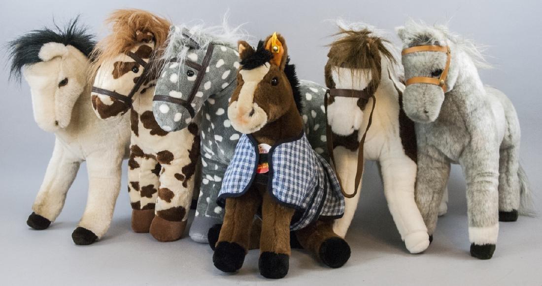 6 Plush Stuffed Toy Horses, Velvet Ponies, Steiff