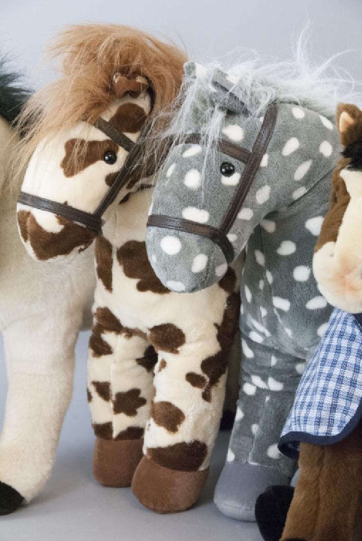 6 Plush Stuffed Toy Horses, Velvet Ponies, Steiff - 2
