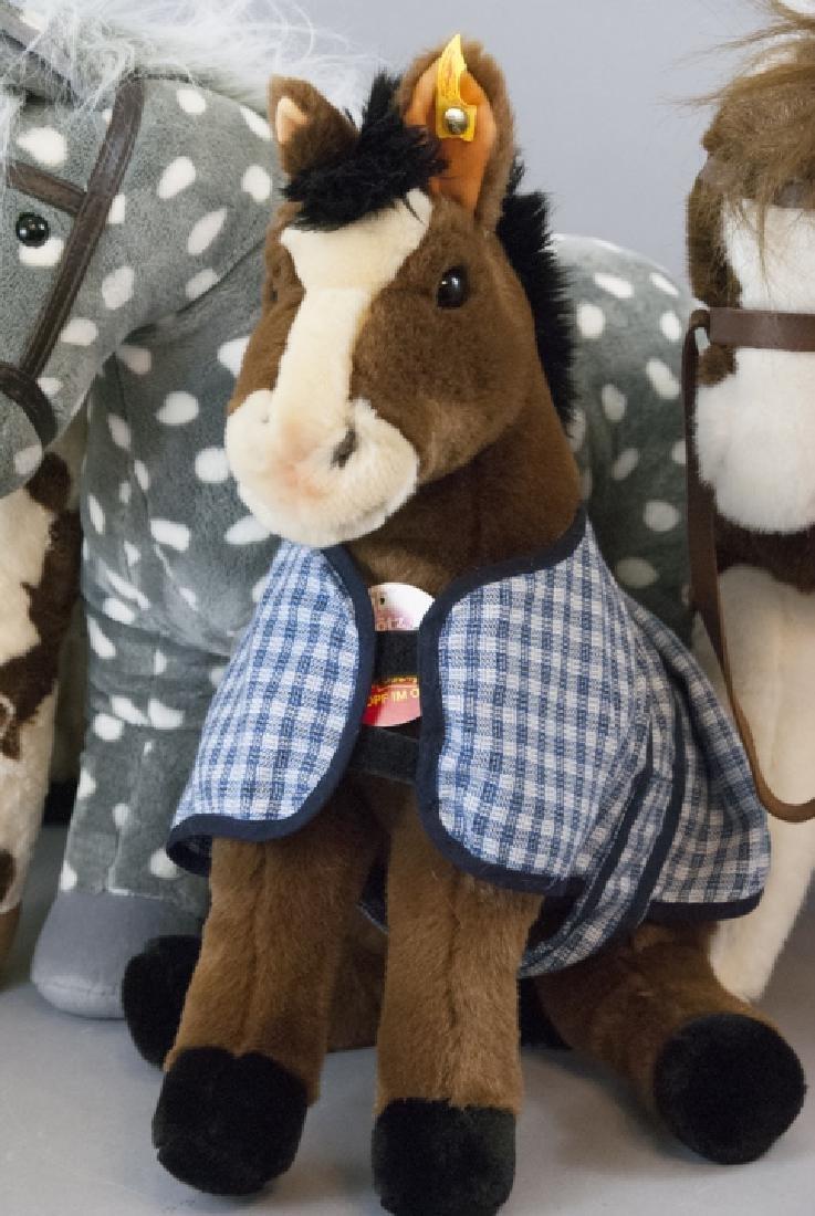 6 Plush Stuffed Toy Horses, Velvet Ponies, Steiff - 3