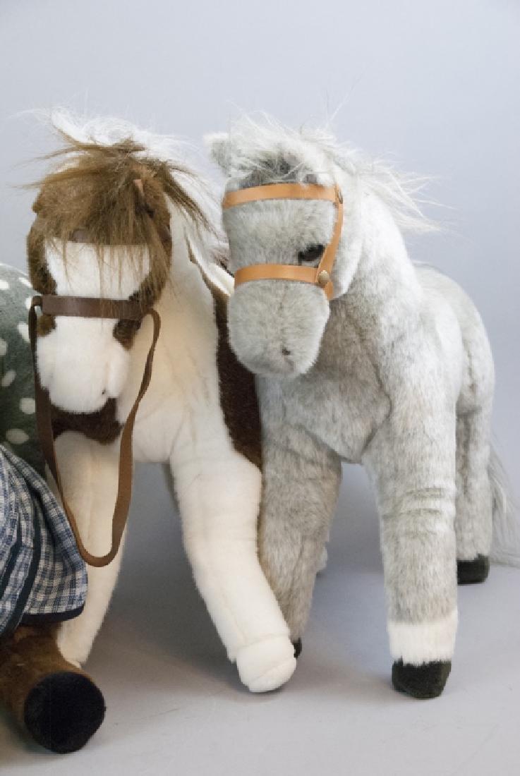 6 Plush Stuffed Toy Horses, Velvet Ponies, Steiff - 4
